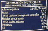 Melocotón en almíbar - Informations nutritionnelles - fr