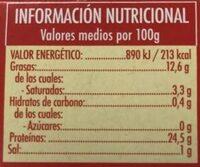 Filetes de caballa del sur en aceite de oliva - Informació nutricional