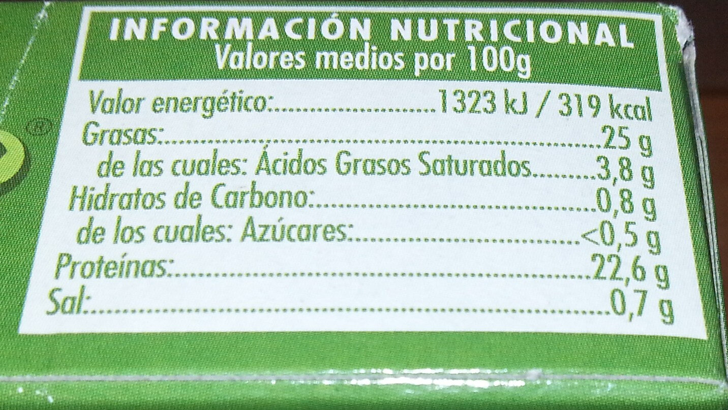 Filetes de melva - Información nutricional - es