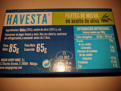 Filetes de melva en aceite de oliva - Información nutricional