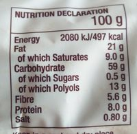 Sugar free oaty biscuits - Nutrition facts