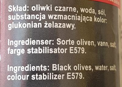 Oliwki Czarne Krojone - Ingrédients
