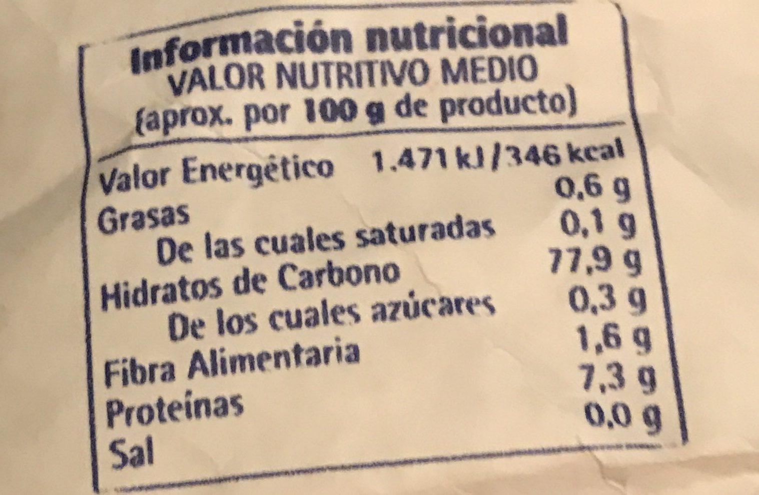 Arroz Extra - Informació nutricional