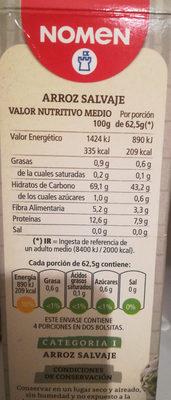 Arroz salvaje caja 250 g - Ingredientes - es