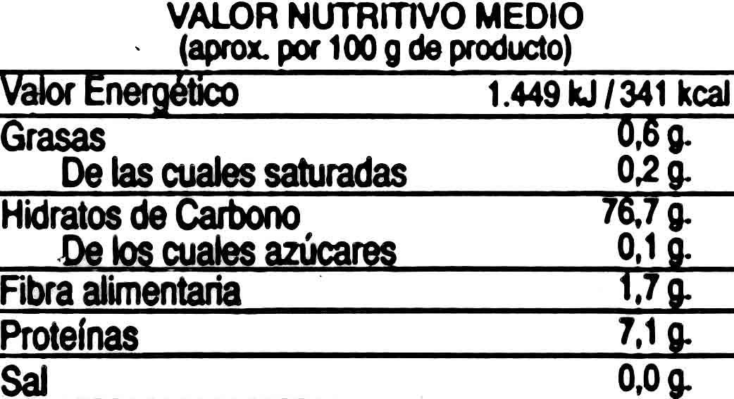 Semola de arroz - Información nutricional
