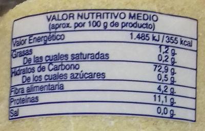 Sémola de trigo - Información nutricional