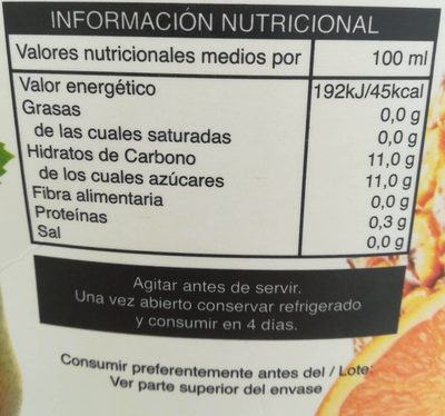 Nectar Multifrutas - Informations nutritionnelles - fr