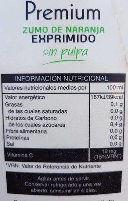 Zumo de naranja - Informations nutritionnelles