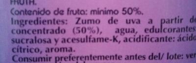 Zumo uva roja - Ingredientes