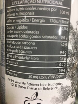 Zumo de naranja con pulpa - Información nutricional