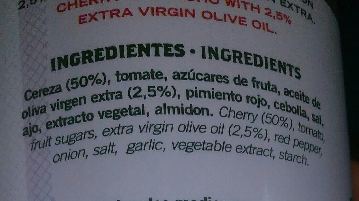 Gazpacho de cereza - Ingredientes - es