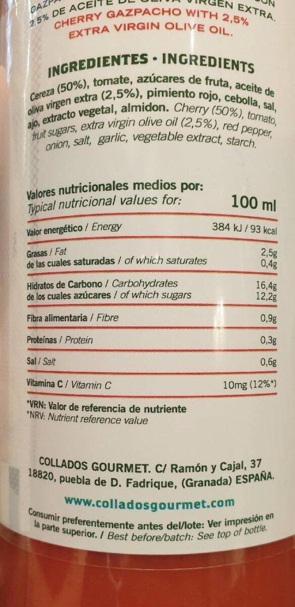 Gazpacho de cereza - Información nutricional - es