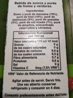 Zumo manzana kiwi kale guayaba espinacas - Nutrition facts - es