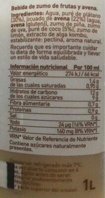 Zumo de avena, platano y coco - Información nutricional