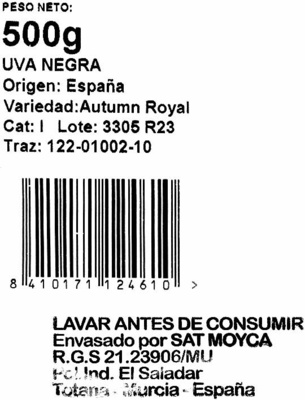Uva negra sin semilla tarrina - Ingredientes - es