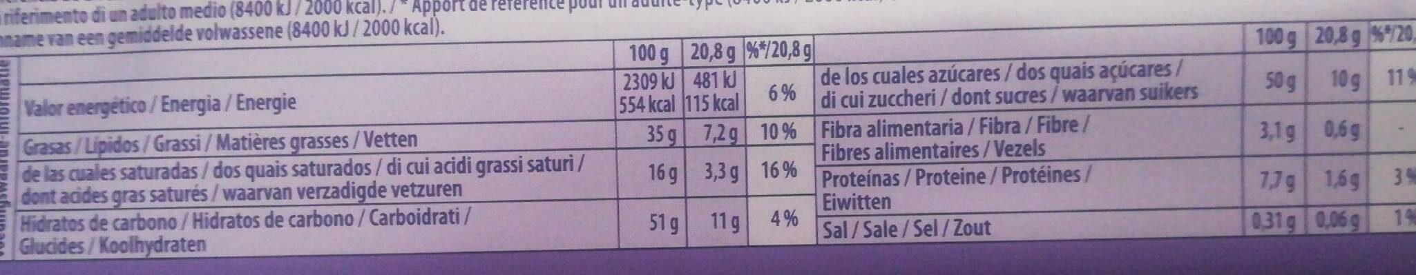 Chocolate con avellanas troceadas - Voedingswaarden - en