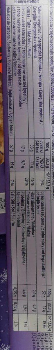 Milka Choco&Wafer - Informació nutricional - fr