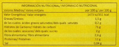 Cannelloni - Informació nutricional