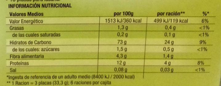 Lasaña fácil espinacas - Información nutricional - es
