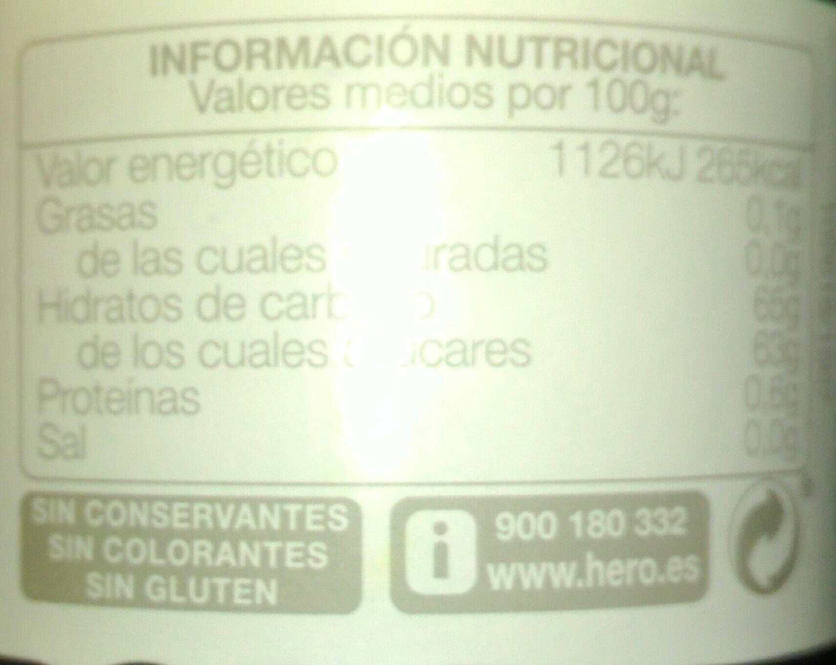 Confitura de cereza - Informations nutritionnelles