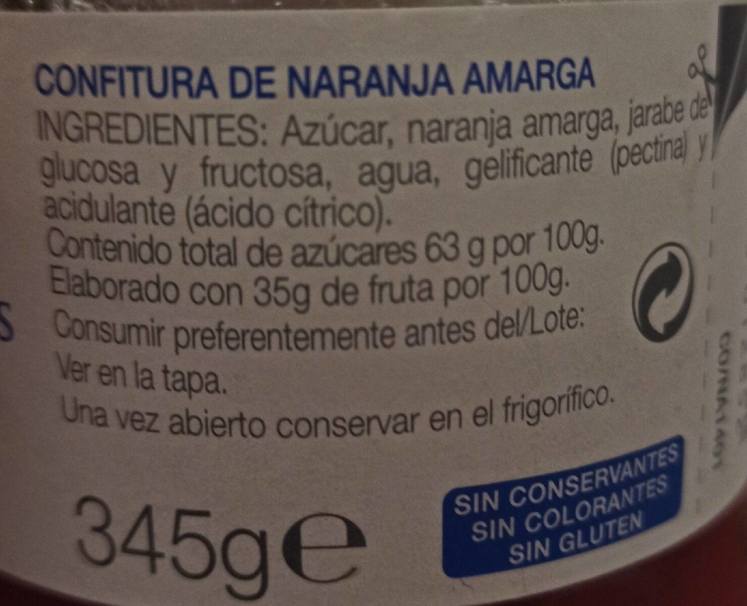 Confitura De Taronja Amarga - Informations nutritionnelles - es