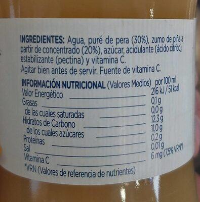 Zumo Pera Piña - Informació nutricional - es