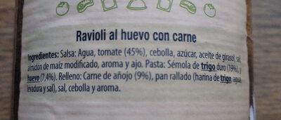 Ravioli L'ou Amb Carn - Ingredientes