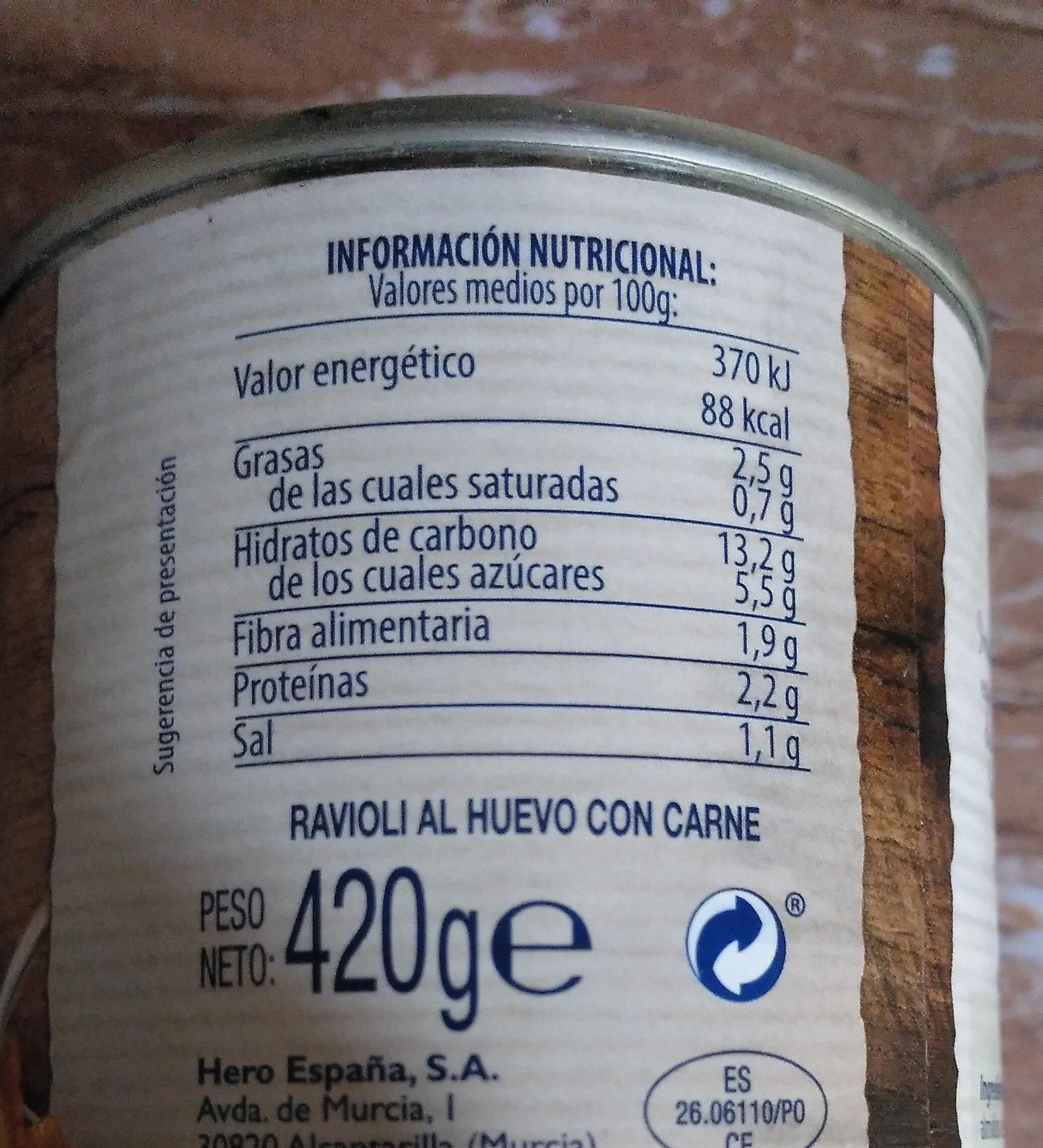 Ravioli L'ou Amb Carn - Información nutricional