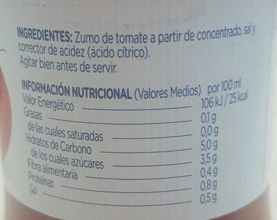 Zumo de tomate - Información nutricional - es