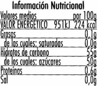 "Mermelada de calabaza ""Hero"" Temporada - Información nutricional"