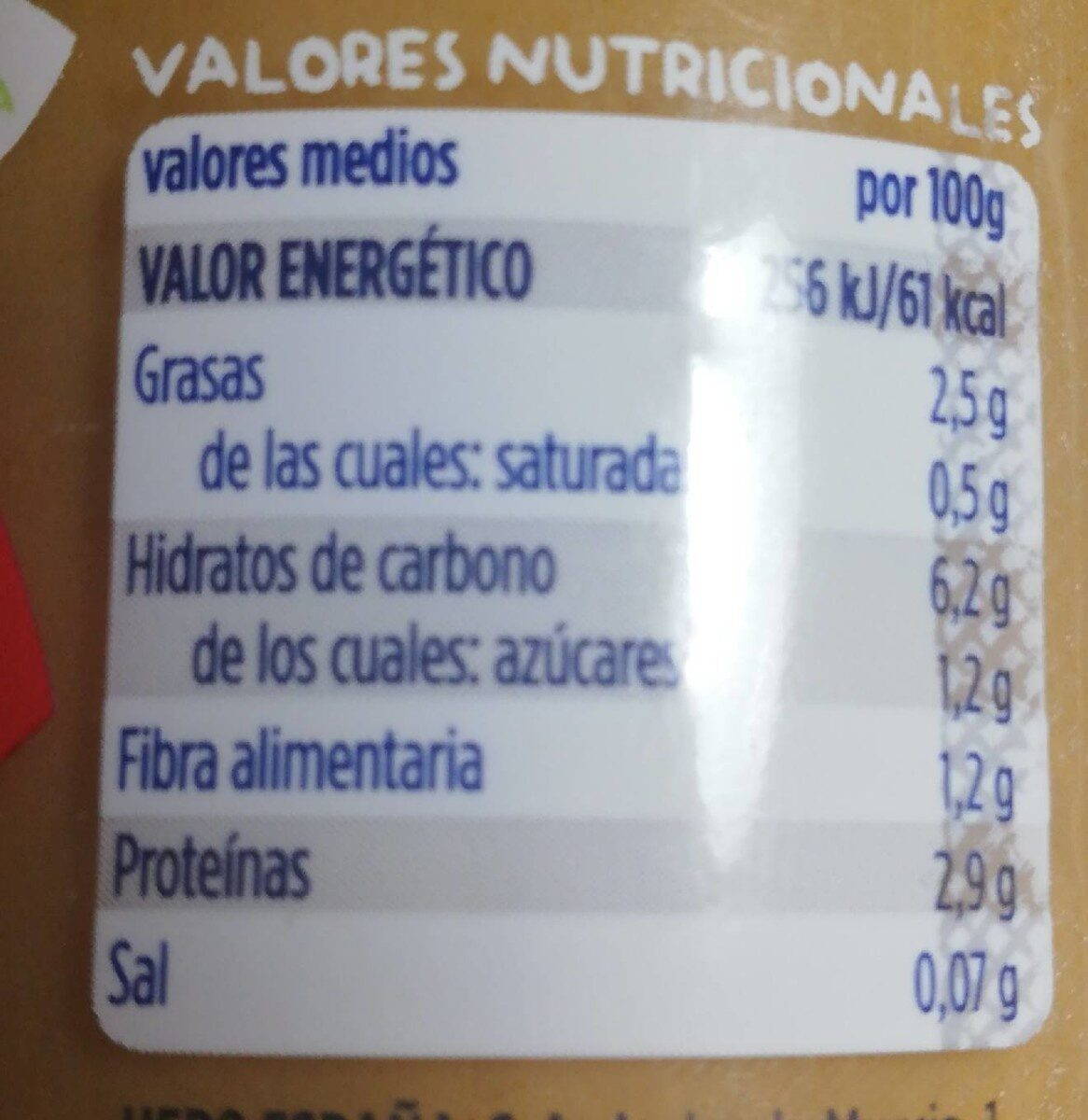 Natur verduritas con pollo y ternera - Información nutricional - es