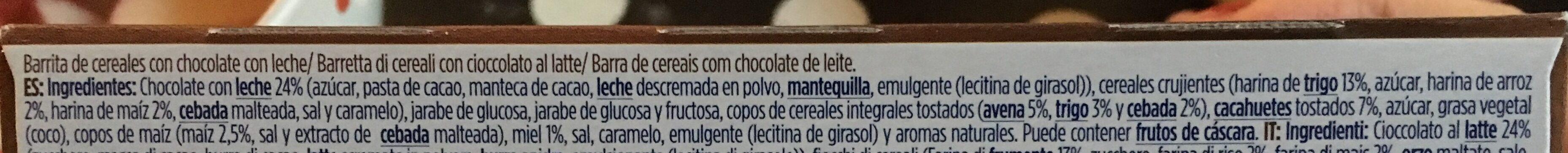 Muesly barritas de cereales con chocolate con leche - Ingredientes - es