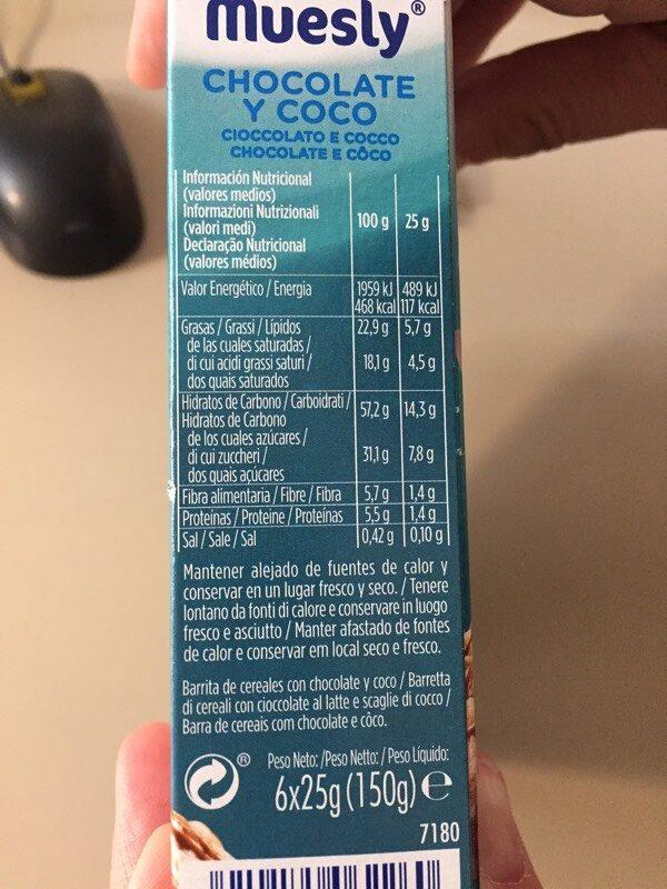 Muesly chocolate y coco - Nutrition facts - fr