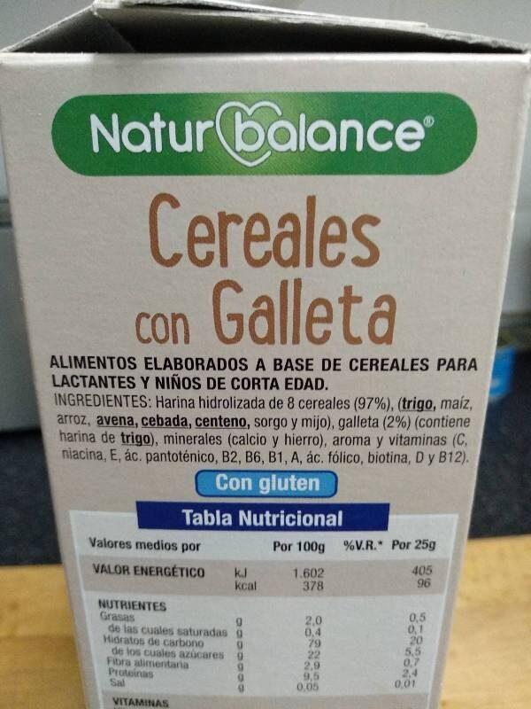 Cereales con Galleta - Ingredientes