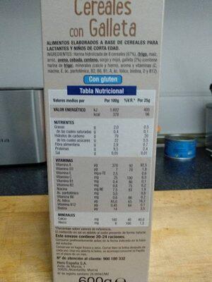 Cereales con Galleta - Información nutricional