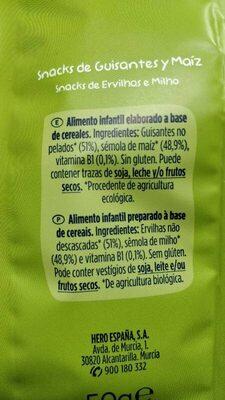 Snacks de Guisantes y Maiz - Ingredients