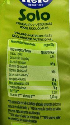 Snacks de Guisantes y Maiz - Informació nutricional
