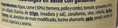 Albóndigas en salsa - Ingrediënten - es
