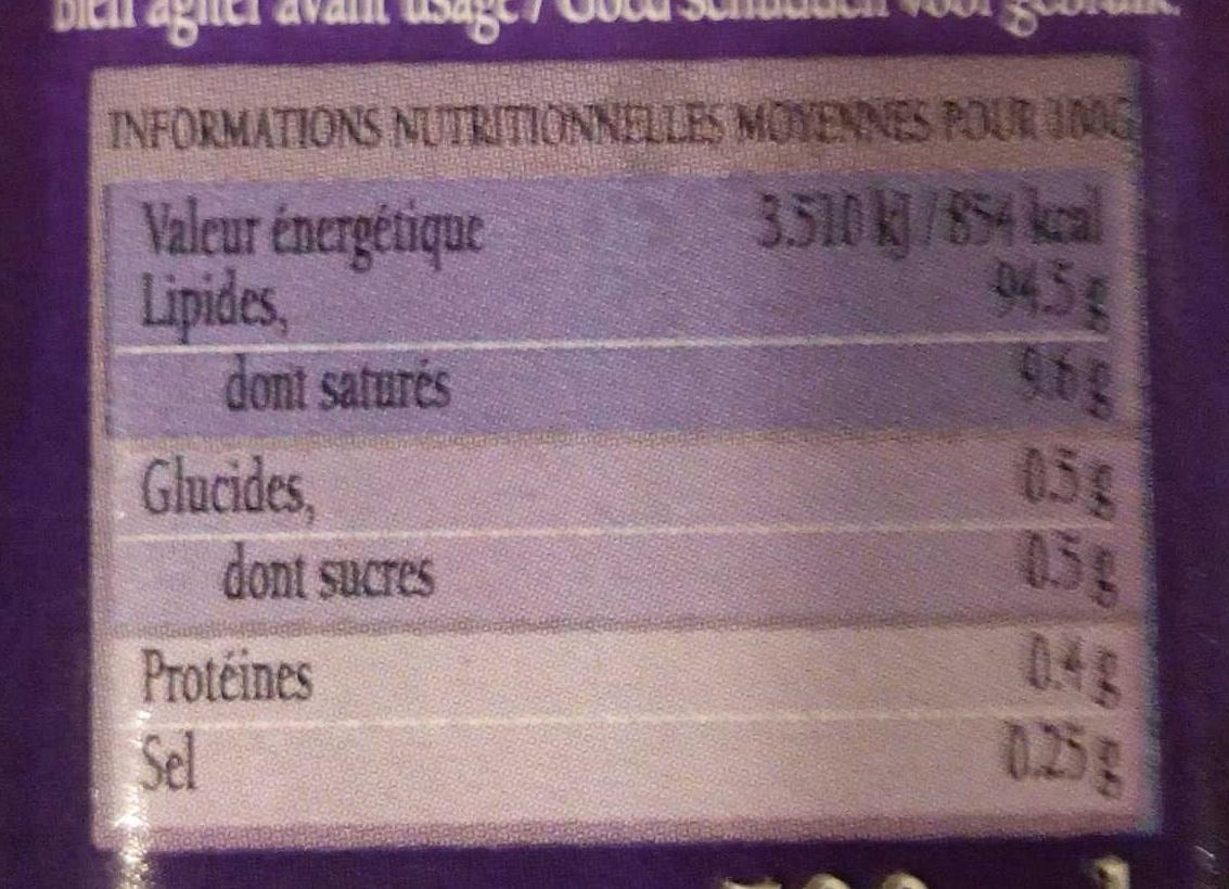Saveur provençale - Informations nutritionnelles