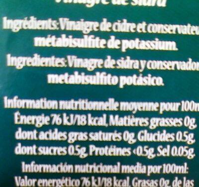 Vinaigre de cidre - Nutrition facts