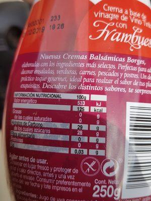 Borges Raspberry Crema Balsamica 250g - Ingrédients