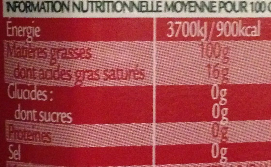Fruitée Huile d'olive vierge extra - Informations nutritionnelles
