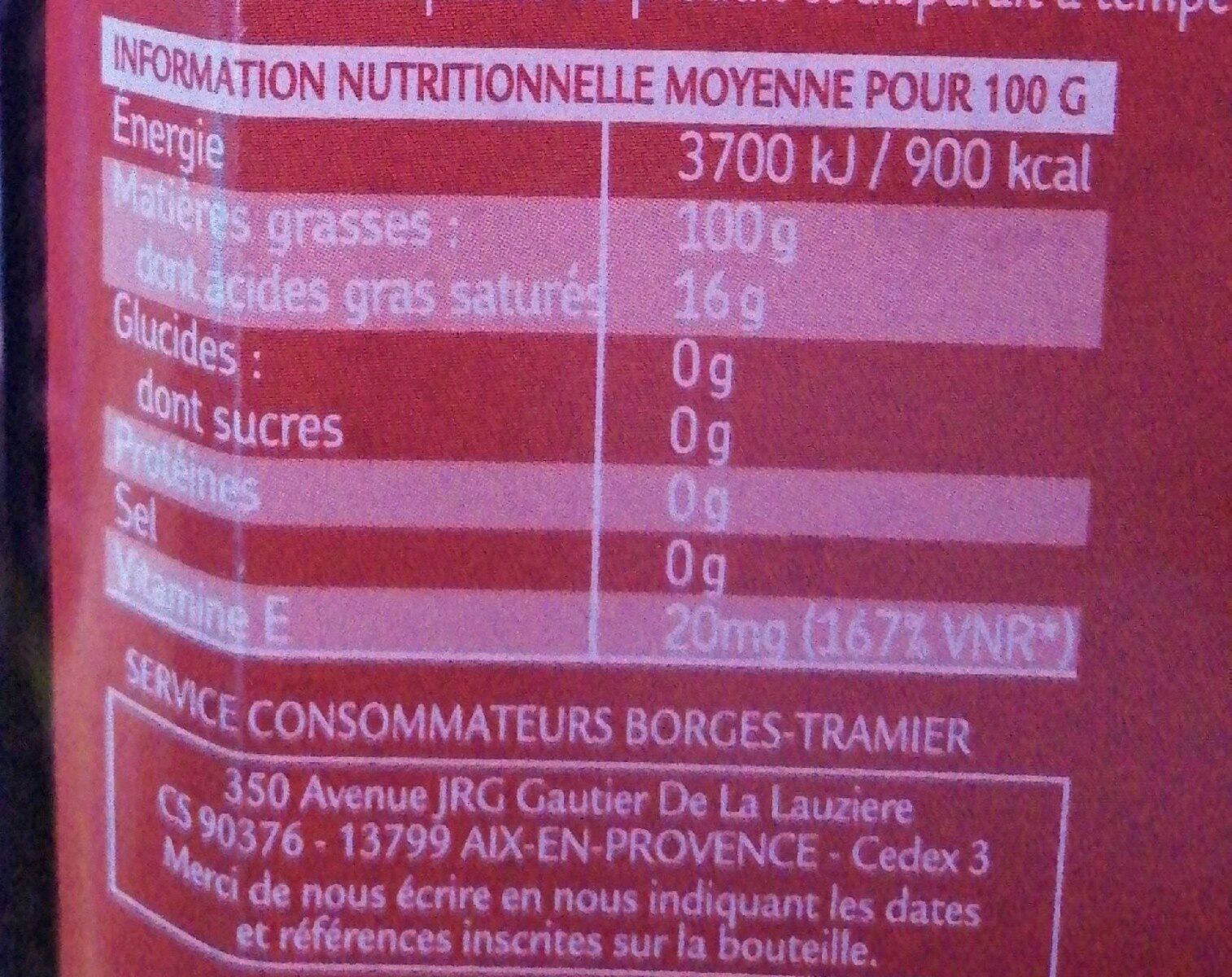 Huile d'olive vierge extra 100 % Olives Hojiblanca - Informations nutritionnelles - fr
