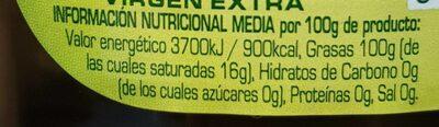Aceite de oliva virgen extra 100% aceituna arbequina - Voedingswaarden