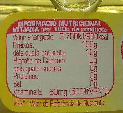 Aceite refinado de girasol botella 1 l - Informations nutritionnelles