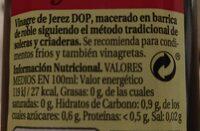 Vinagre De Jerez Frasco - Voedingswaarden - es
