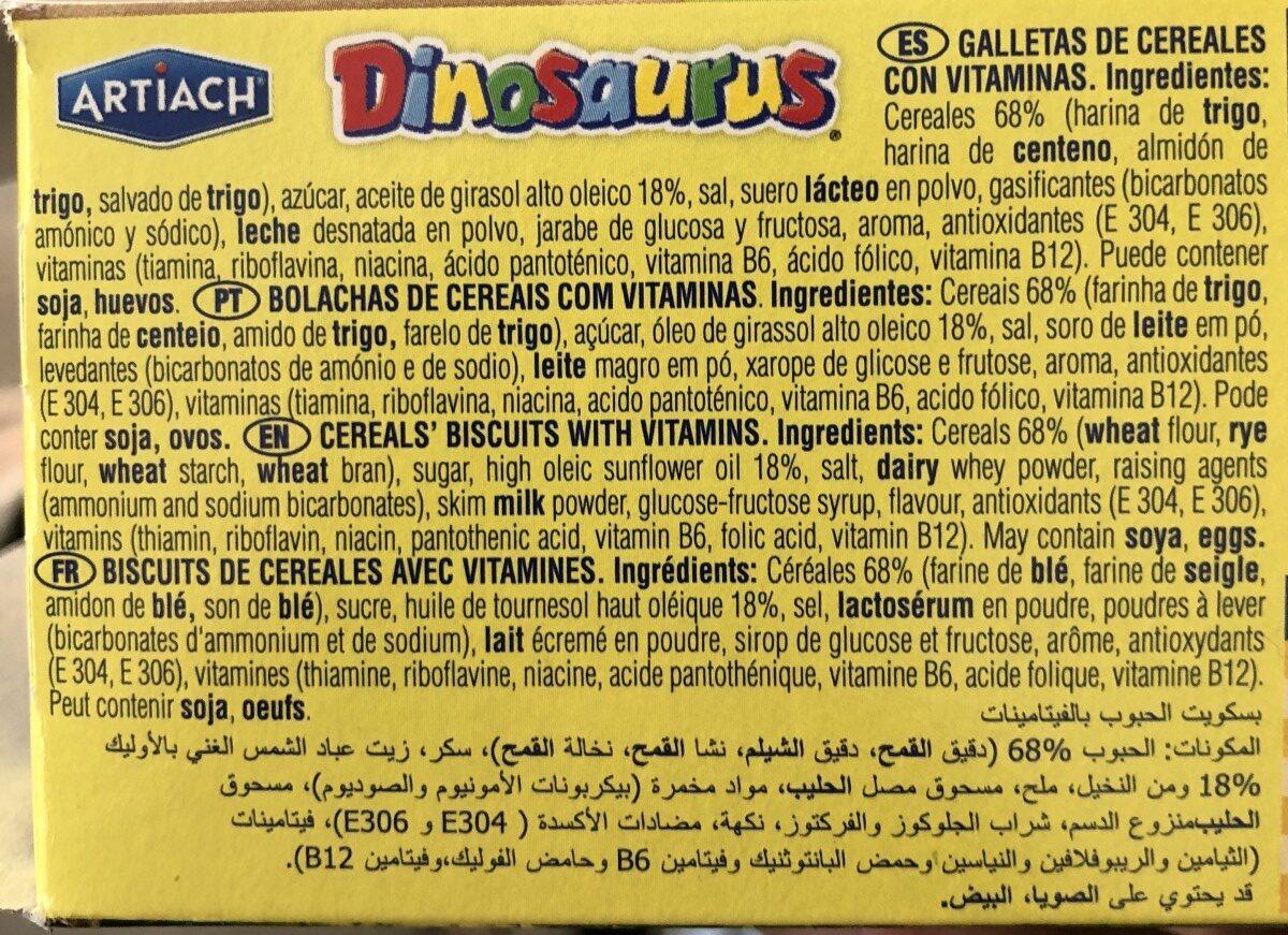 Dinosaurus Galleta 185G - Ingredientes - fr
