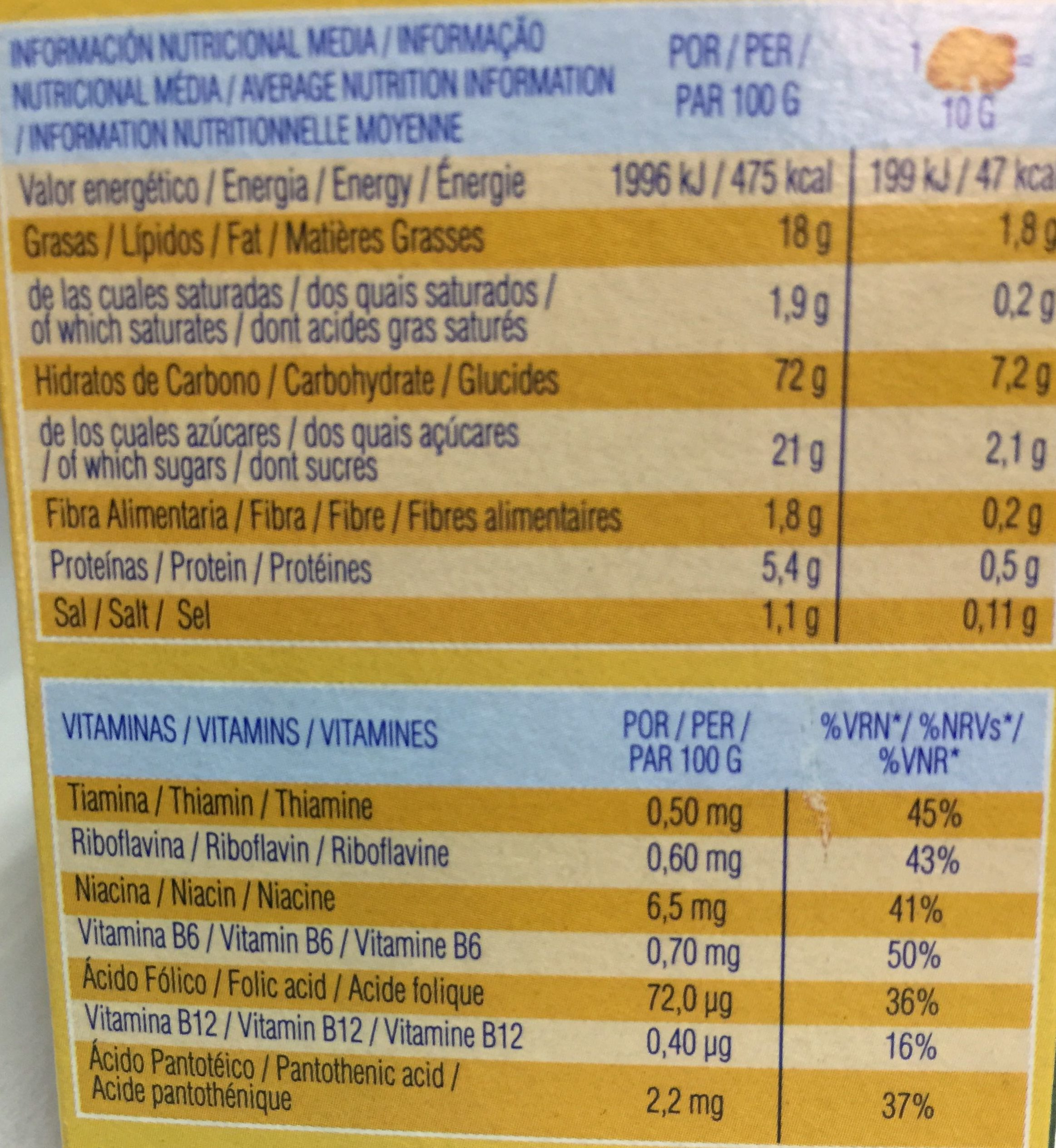 Dinosaurus - Nutrition facts - es