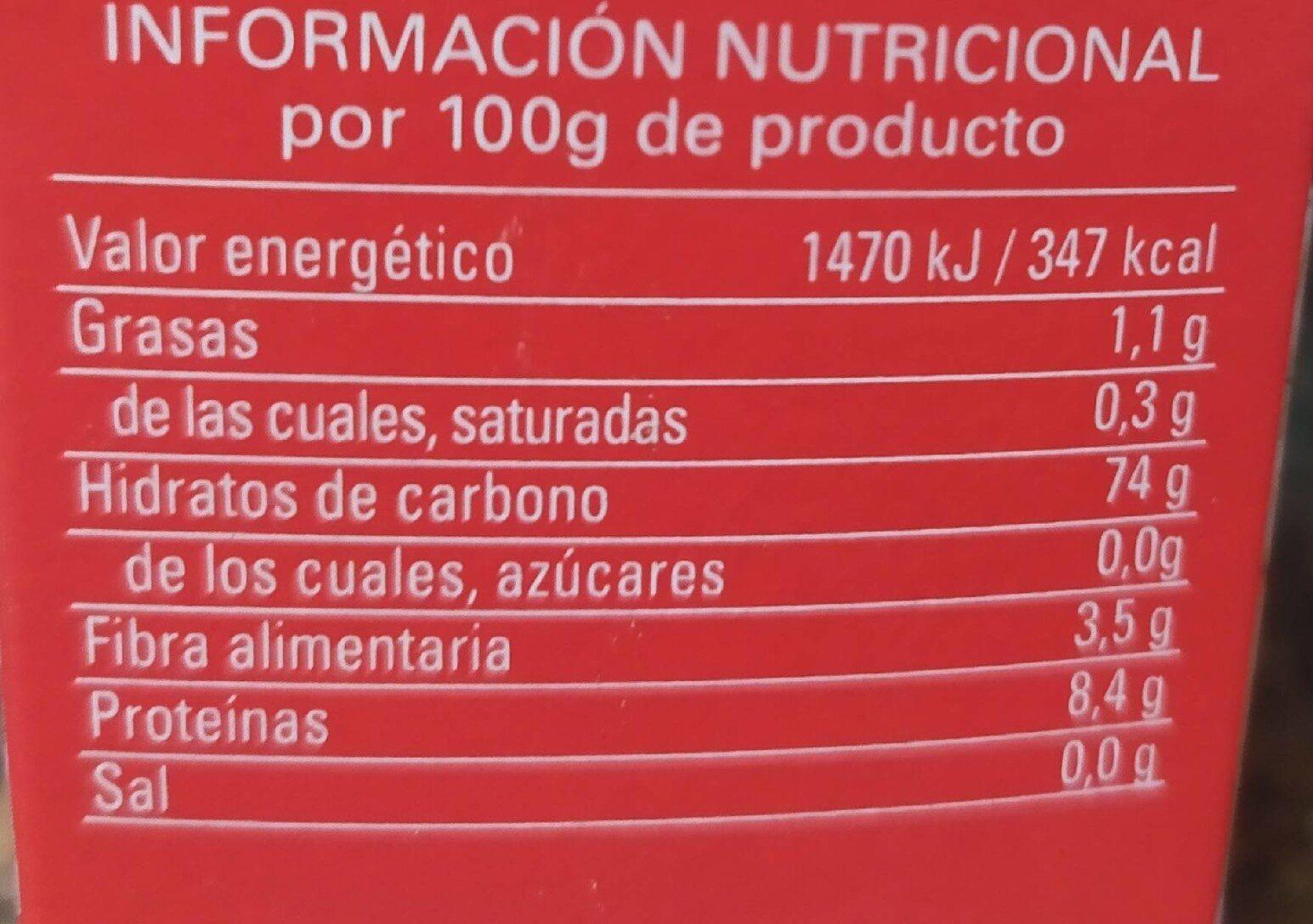 Arroz grano largo - Informació nutricional - es