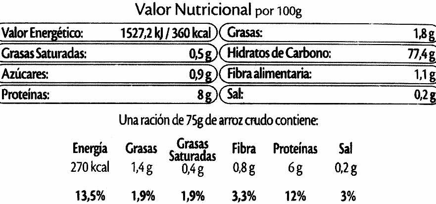Arroz especial ensaladas y guarniciones paquete 500 g - Informació nutricional - es